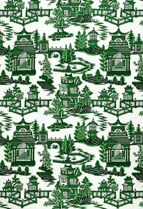 SCHUMACHER CHINOISERIE PAGODA TOILE LINEN FABRIC GREEN