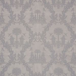SCHUMACHER CHINOISERIE ROYALE LINEN FABRIC PLATINUM