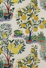 SCHUMACHER CITRUS GARDEN FOLK ART LINEN FABRIC PRIMARY
