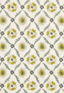 SCHUMACHER CLAREMONT EMBROIDERY FABRIC CHARTREUSE