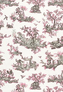 SCHUMACHER CONTINENTI EMBROIDERED FABRIC GREY/FUCHSIA