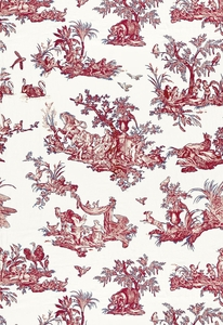 SCHUMACHER CONTINENTI EMBROIDERED FABRIC ROUGE/PRUSSIAN BLUE