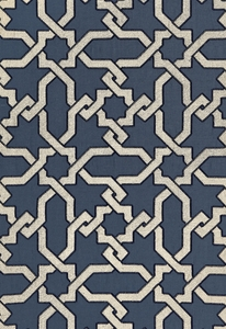 SCHUMACHER CORDOBA EMBROIDERY FABRIC IDIGO