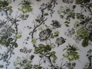 SCHUMACHER ELIZABETH FLORAL PRINTED COTTON FABRIC ACID GREEN / GREIGE