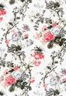 SCHUMACHER ELIZABETH FLORAL PRINTED COTTON FABRIC  GREY ROUGE