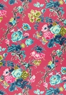 SCHUMACHER ELIZABETH FLORAL PRINTED COTTON FABRIC ROUGE MULTI