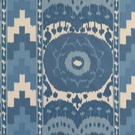 SCHUMACHER ETHNIC CHIC COTTON PRINT SAMARKAND IKAT II FABRIC BLUE