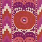 SCHUMACHER ETHNIC CHIC COTTON PRINT SAMARKAND IKAT II FABRIC RUBY