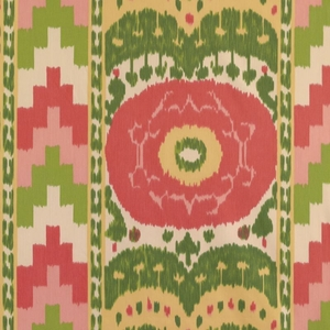 SCHUMACHER ETHNIC CHIC COTTON PRINT SAMARKAND IKAT II FABRIC WATERMELON