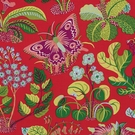 SCHUMACHER EXOTIC BUTTERFLY FLORAL INSECT LINEN FABRIC RED