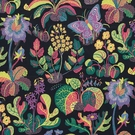 SCHUMACHER EXOTIC BUTTERFLY FLORAL INSECT LINEN FABRIC BLACK