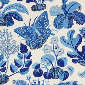 SCHUMACHER EXOTIC BUTTERFLY FLORAL INSECT LINEN FABRIC MARINE