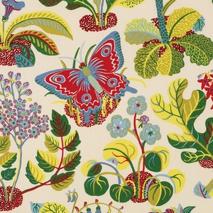 SCHUMACHER EXOTIC BUTTERFLY FLORAL INSECT LINEN FABRIC MULTI