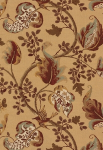 SCHUMACHER FOX HOLLOW BIRD FLORAL LEAF FABRIC HONEY