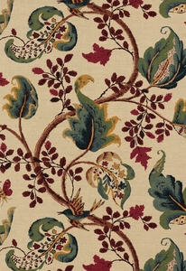 SCHUMACHER FOX HOLLOW BIRD FLORAL LEAF FABRIC NATURAL