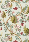 SCHUMACHER FOX HOLLOW BIRD FLORAL LEAF FABRIC ROBINS EGG