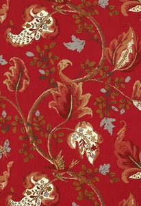SCHUMACHER FOX HOLLOW BIRD FLORAL LEAF FABRIC TOMATO