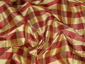 SCHUMACHER FRENCH COUNTRY BUFFALO CHECK SILK FABRIC 30 YARD BOLT BURGUNDY GOLD