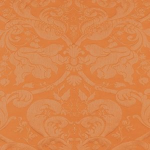 SCHUMACHER GAVOTTE BROCATELLE DAMSK FABRIC TERRACOTA