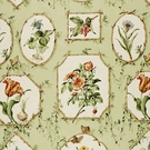 SCHUMACHER GREENBRIER BOTANICAL COTTON FABRIC  WILLOW