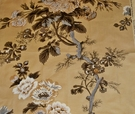 SCHUMACHER HOLLYHOCK FLORAL COTTON TOILE FABRIC  AMBER BROWN GREY GOLD