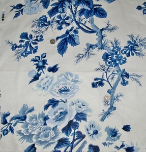 SCHUMACHER HOLLYHOCK FLORAL COTTON TOILE FABRIC  BLUES WHITE