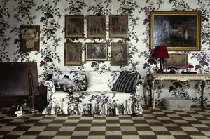 SCHUMACHER HOLLYHOCK FLORAL COTTON TOILE FABRIC  CHARCOAL GREY IVORY