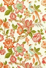 SCHUMACHER HUNTINGTON GARDENS LINEN FABRIC CORAL