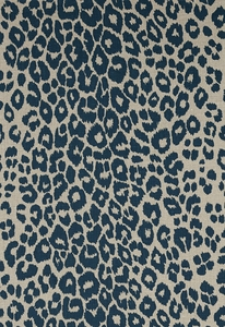 SCHUMACHER ICONIC LEOPARD BELGIUM LINEN FABRIC INK NATURAL