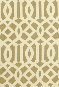 SCHUMACHER IMPERIAL TRELLIS LINEN FABRIC NATURAL/COFFEE