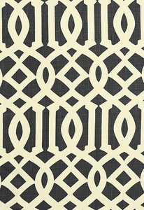 SCHUMACHER IMPERIAL TRELLIS LINEN FABRIC PARCHMENT/MIDNIGHT