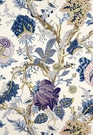 SCHUMACHER INDIAN ARBRE JACOBEAN LINEN FABRIC HYACINTH