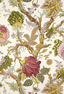 SCHUMACHER INDIAN ARBRE JACOBEAN LINEN FABRIC SPRING