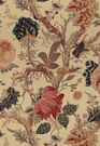 SCHUMACHER INDIAN ARBRE JACOBEAN LINEN FABRIC TEA