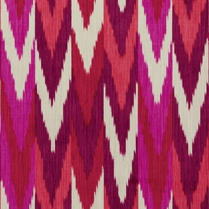 SCHUMACHER KASHGAR IKAT FABRIC RUBY & PLUM