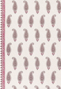 SCHUMACHER L'INDIENNE PAISLEY BORDER LINEN FABRIC FUCHSIA GREY