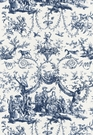 SCHUMACHER LE COURONNEMENT DE LA ROSIERE FRENCH TOILE FABRIC BLUE