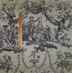 SCHUMACHER LE COURONNEMENT DE LA ROSIERE FRENCH TOILE FABRIC GRAY