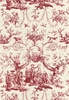 SCHUMACHER LE COURONNEMENT DE LA ROSIERE FRENCH TOILE FABRIC ROUGE