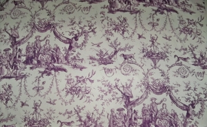 SCHUMACHER LE COURONNEMENT DE LA ROSIERE FRENCH TOILE FABRIC VIOLET