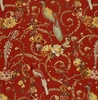 SCHUMACHER MADRIGAL BIRDS SCROLLS LINEN FABRIC BRICK RED