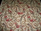 SCHUMACHER MADRIGAL BIRDS SCROLLS LINEN FABRIC DOCUMENT BEIGE CREAM MULTI