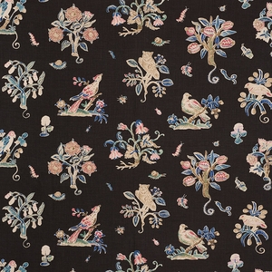 SCHUMACHER MAGICAL MENAGERIE LINEN FABRIC BLACK