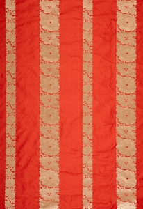 SCHUMACHER MANDARIN SILK STRIPE FABRIC CORAL