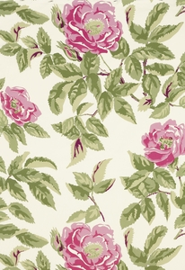 SCHUMACHER MANOR ROSE SHABBY FLORAL FABRIC PINK LADY