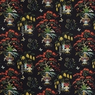 SCHUMACHER MING VASE LINEN FABRIC BLACK