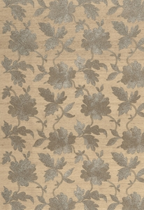 SCHUMACHER MOON GARDEN FLORAL EMBROIDERED SILK FABRIC PEWTER