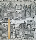 SCHUMACHER NEW YORK, NEW YORK TOILE FABRIC BLACK & WHITE