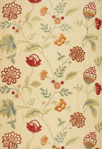 SCHUMACHER PALAMPORE EMBROIDERY FABRIC BISCUIT