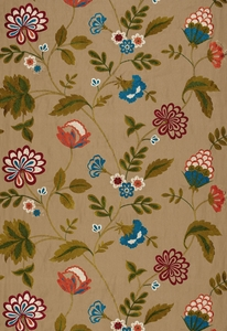 SCHUMACHER PALAMPORE EMBROIDERY FABRIC TOBACCO